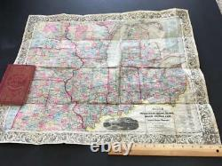 1854 Colton Pocket Map, Large 26 Inch Western Tourist Guide Book Antique