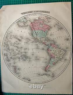 1855 Large Antique Map-colton- World On Mercator's Projection Plus Western Hemis