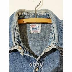 1940's Vintage Big E Levi's Short Horn Denim Western Shirt RARE