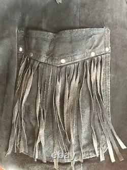 1980s Black Suede Fringe Jacket