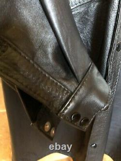 1990s Deadstock Mens Black Leather Western Shirt Size Large