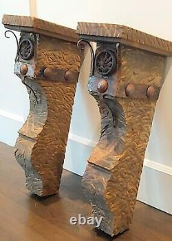 2 Large Rustic Lodge Western Mantle Iron Clavos CORBELS Decor 21.5 TALL