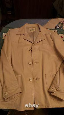 40's WESTERN JACKET LEATHER CREAM COLOR ACTUEL S. 42.44 M. IN USA VERY G. C