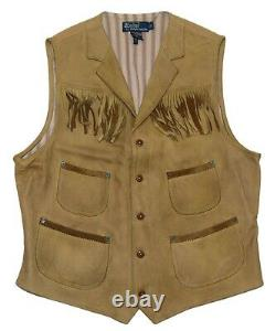 $995 Polo Ralph Lauren Mens Leather Distressed Western Indian Vest Brown Large