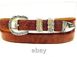 Alexander's Belts & Buckles Sterling Silver Large Ranger Buckle Lizard Belt 38