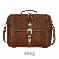 American West Unisex Retro Romance Leather Laptop Briefcase