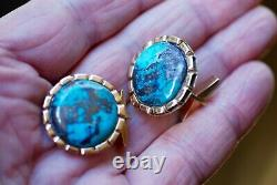Antique 14k Rose Gold Kingman Gem Grade Turquoise Cufflinks, Large & Heavy
