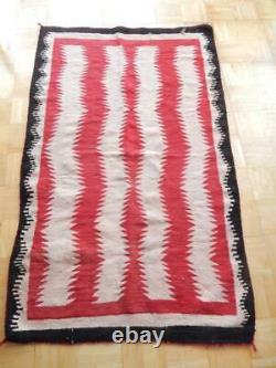 Antique / Vintage Large Red Mesa Dazzler Navajo Indian Rug Weaving