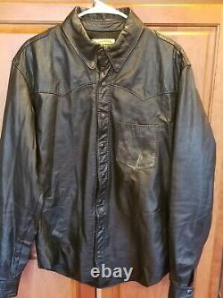 Bates Mens Leather Jacket Vtg Distressed Button Snap Western Style 60/70s Large