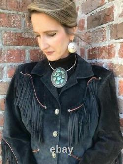 Beautiful Vintage Western Dark Blue-Green Suede Jacket with Fringe Size Large