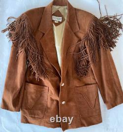 CONTINENTAL LEATHER FASHIONS LINED JACKET FRINGE WESTERNN X large Made In USA
