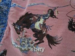 Cowgirl Rodeo on Mauve Vintage Bark Cloth Large Pillow Sham Bandana Print Ruffle