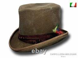 Dandy Western antiqued top hat handmade in Italy