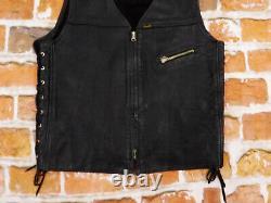 Diesel Biker Casual Leather Vest Vintage STEER HIDE Black Size L Tip Top