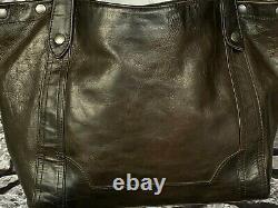 FRYE MELISSA Carryall Antique Dark Brown Pull Up Leather Tote Shoulder Bag $398