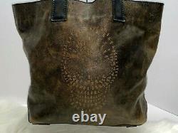 FRYE SKULL LOGO TOTE Antiqued Brown / Black Leather Shoulder Bag
