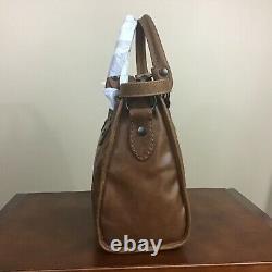 Frye Melissa Antique Italian Leather Top Zip Satchel Handbag Cognac Brown NWT