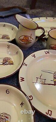 GREAT 25 PIECE SET OF MONTERREY WESTERN ENAMEL WARE Great With Large Tea Pot +