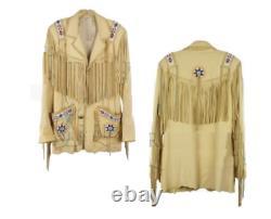 Herren Cowboy Beige Jacke Wildleder Fransen und Perlen Western Tragen Mantel Neu