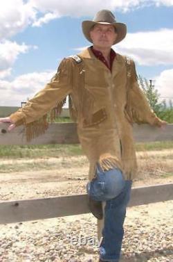 Herren Western Jacke Muttersprache Cowboy Tragen Mantle Fransen & Perlen Lange