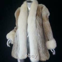 Jacobsonssz Lvintage Off White Blonde Genuine Real Fox Fur Tuxedo Coat Jacket