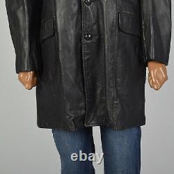 L 1950s Mens Leather Jacket Black Western Shoulder Yolk Belted Back Coat 50s VTG