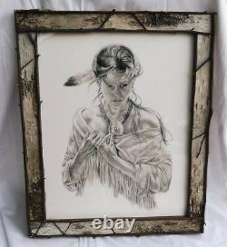 LARGE 23 NUDE INDIAN GIRL DRAWING PRINT+BIRCH BARK PICTURE FRAME Cowboy Western