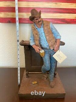 LARGE VINTAGE MICHAEL GARMAN Cutting The Dust WESTERN COWBOY SCULPTURE