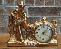 LARGE Vintage 1950 LANE & CO. Copper Metal COWBOY / STEER MANTEL CLOCK