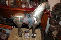 Large Antique Cast Iron Horse Statue Aged Patina Western Decor 33LBS