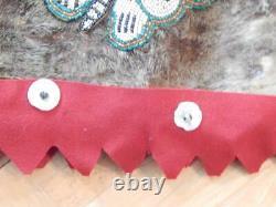 Large Antique Vintage Alaska Eskimo / Nw Coast Indian Beaded Bag Pictorial A++