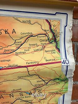 Large Denoyer-Geppert Visual Reielf Series, Sectional Wall Map of Western U. S