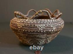 Large Old Native American Western Washington Imbricated Basket with Loop Rims