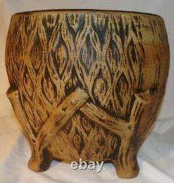 Large Rare Antique Footed Western Stoneware Jardiniere
