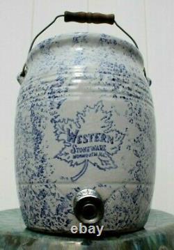Large Rare Antique Western Stoneware Dispenser/crock Handle/lid Monmouth Ill. +++