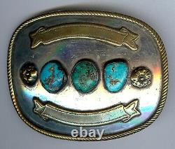 Large Vintage Nickel Silver & Brass Turquoise Western Rodeo Style Belt Buckle