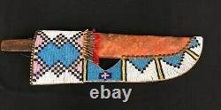 Late 1800s CrowithPlains Large Size Beaded Belt Knife Sheath