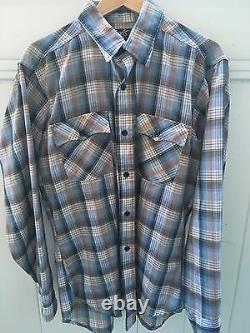 Levi's Vintage Plaid Button Up Shirt Made In USA Size Large