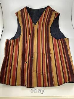 Levis Big E Denim Vest Reversible Orange Tab Striped Western Hippie Unisex Vtg