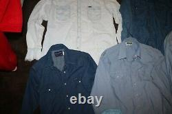 Lot of 6 vintage 70s denim chambray western cowboy shirts sz Large XL