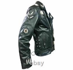 Men Western Genuine Cowhide Leather Jacket Fringe, Bone & Beads NATIVE AMERICAN