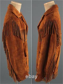 Men's 1970s Schott Fringe Suede Western Jacket 44 Large 70s Vtg Leather Hippy