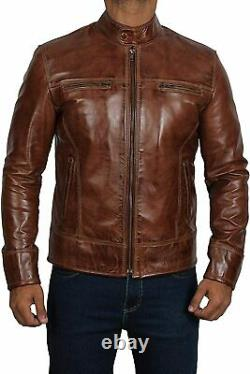 Men's Biker Real Leather Jacket Lambskin Motorcycle Distressed Wax Antique Brown