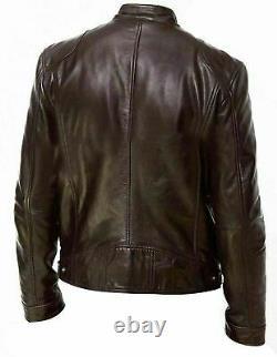 Men's Cafe Racer Brown Biker Retro Moto Leather Jacket Free Delivery