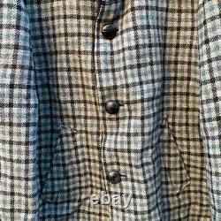 Men's Pendleton Coat Jacket Vintage Western Plaid Fur Collar 50s Retro Wool