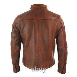 Men's Trucker Leather Jacket Tan Real Lambskin Classic Western Jackets
