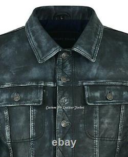 Men's Truckers Navy Vintage Real Leather Jacket Napa Casual Western Style 1280