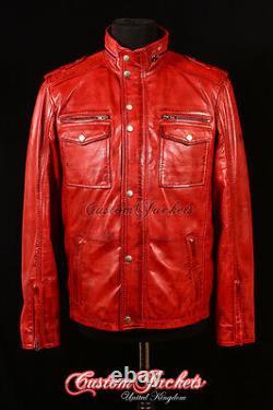 Mens BANDIT VINTAGE RED Safari Jacket Western Cowboy Biker Leather Shirt Blouson