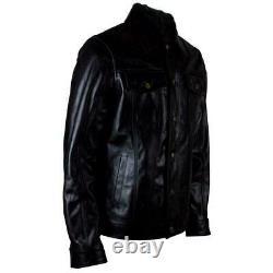 Mens Black Real Leather Casual Fitted Denim Western Shirt Style Jean Jacket Coat