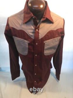 Mens RARE VINTAGE CONWAY TWITTY Country Western L Large 16/16.5 Burgundy Shirt